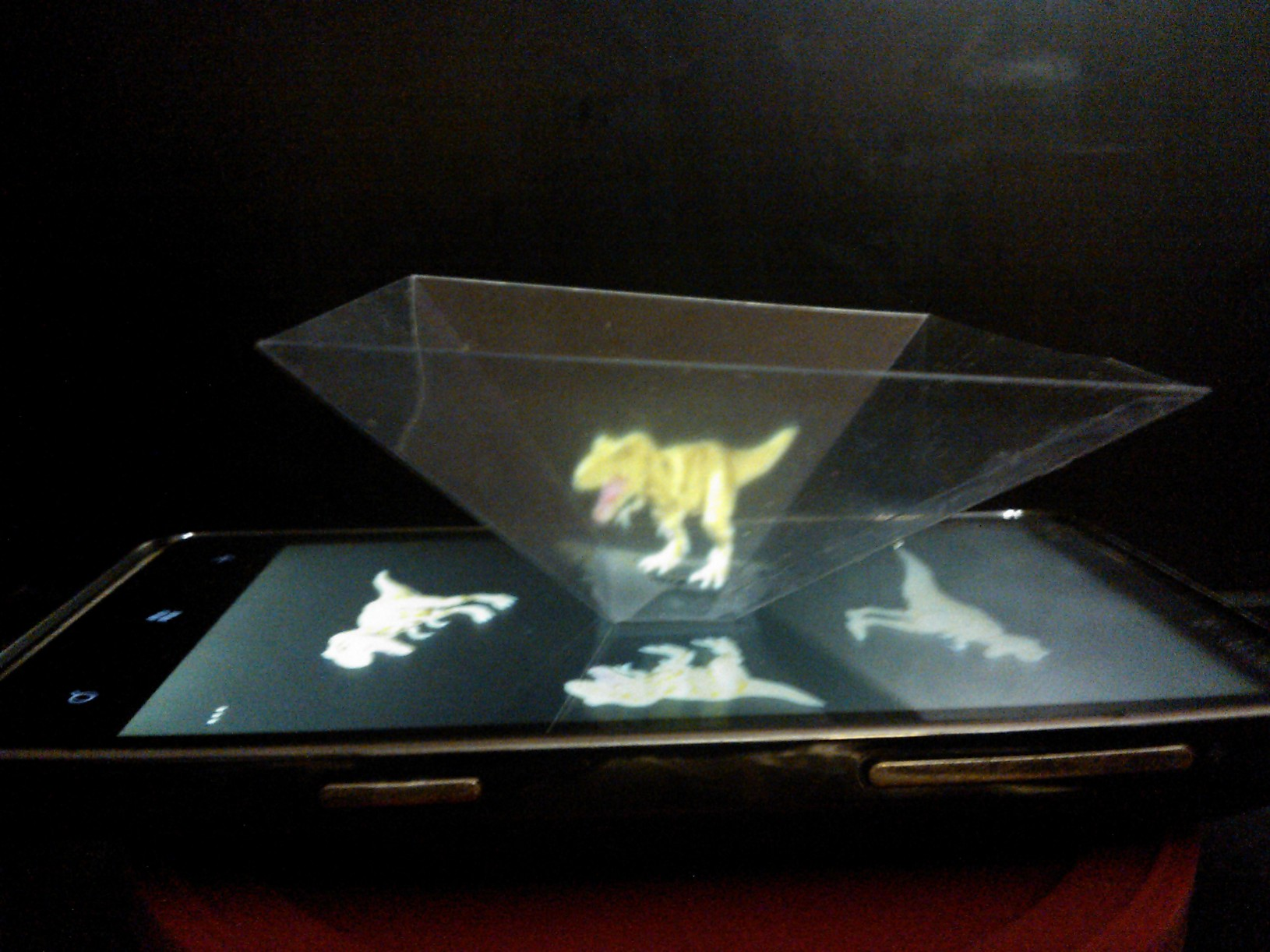 Hologram of Dinosour Toy in Holograpic Pyramid