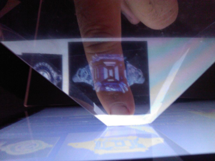 Finger in Holographic Pyramid to draw Virtual Holographic Ring Image on the finger